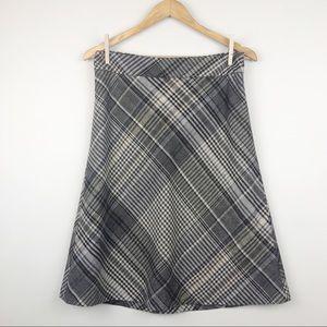 Loft Plaid Wool A-Line Mid Length Skirt Size 6